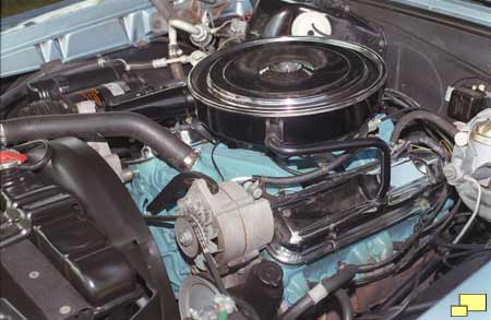 Pontiac gto 389 cubic inch 1965 pontiac gto engine with single carter four bbl carburetor chrome air cleaner and valve covers are as original from the factory publicscrutiny Images